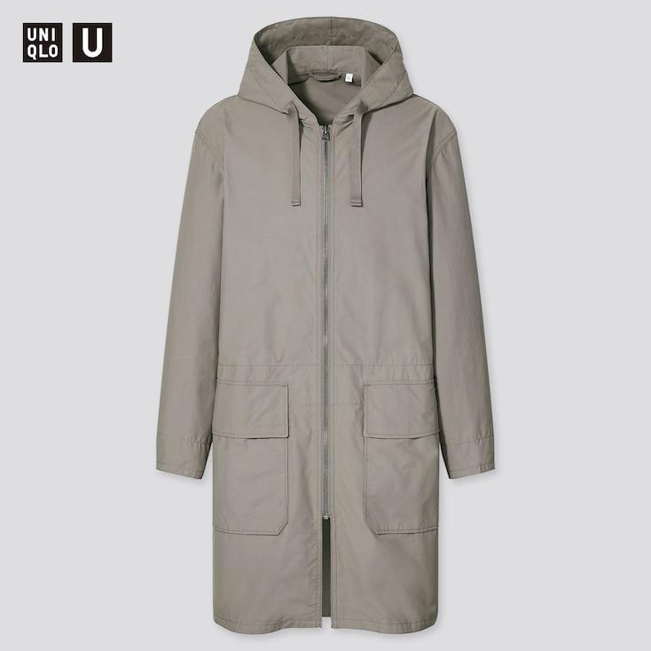 Men U Hooded Coat, Gray, Large
