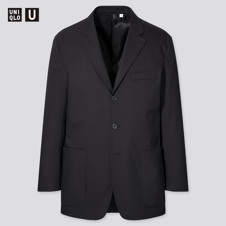 Men U Relaxed-Fit Tailored Jacket, Black, Large