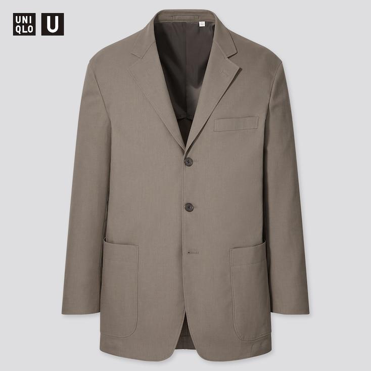 Men U Relaxed-Fit Tailored Jacket, Khaki, Large
