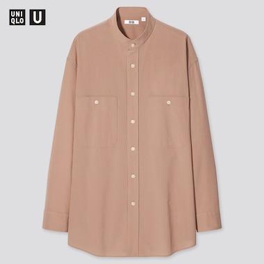 U Oversized Striped Stand Collar Long-Sleeve Shirt, Pink, Medium