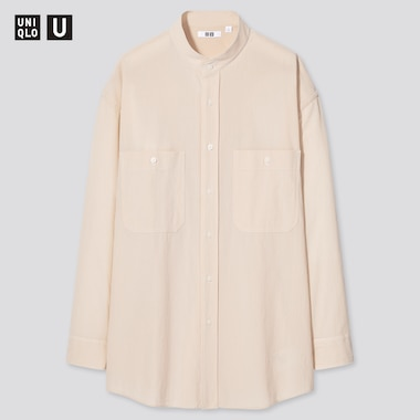 Men Uniqlo U Wide Fit Stand Collar Striped Shirt