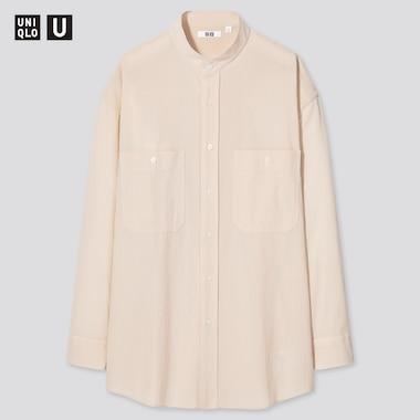 UNIQLO U Gestreiftes Hemd mit Stehkragen (Wide Fit)