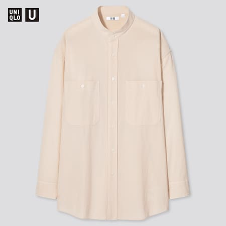 Uniqlo U Wide Fit Stand Collar Striped Shirt