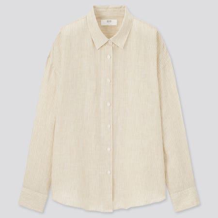 Women 100% Premium Linen Striped Long Sleeved Shirt