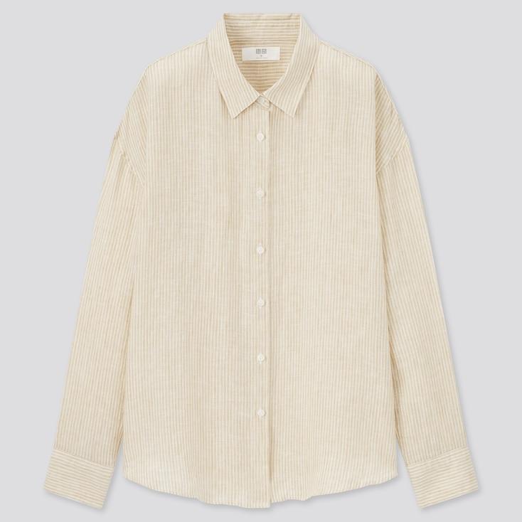 Women Premium Linen Striped Long-Sleeve Shirt, Beige, Large