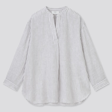 Women Premium Linen Skipper Collar 3/4-Sleeve Shirt, Gray, Medium