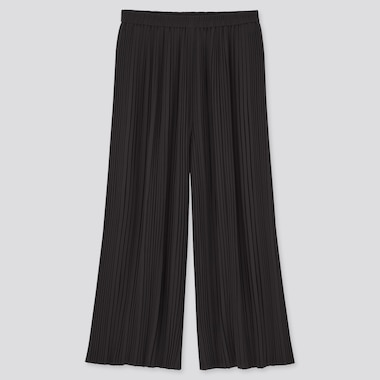 Women Chiffon Pleated Skirt Pants, Black, Medium