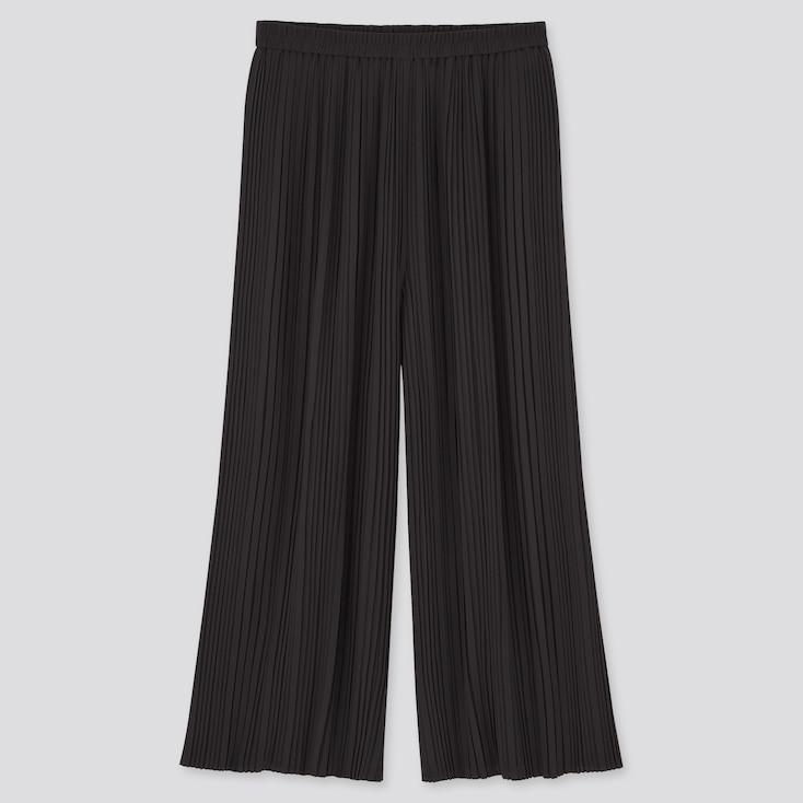 Women Chiffon Pleated Skirt Pants, Black, Large