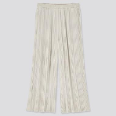 Women Chiffon Pleated Skirt Pants, Natural, Medium