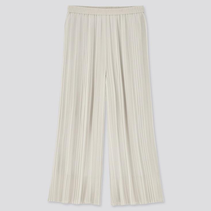 Women Chiffon Pleated Skirt Pants, Natural, Large