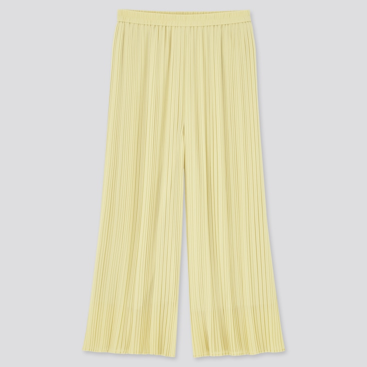 Women Chiffon Pleated Skirt Pants, Yellow, Large
