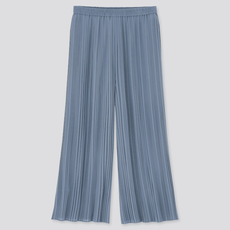 Women Chiffon Pleated Skirt Pants, Blue, Large