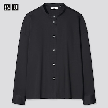 Women U Mercerized Cotton Stand Collar Long-Sleeve Shirt, Black, Medium