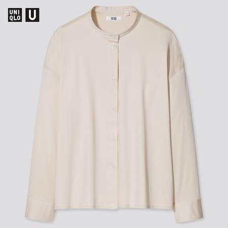 Women Uniqlo U Mercerised Cotton Stand Collar Long Sleeved Shirt