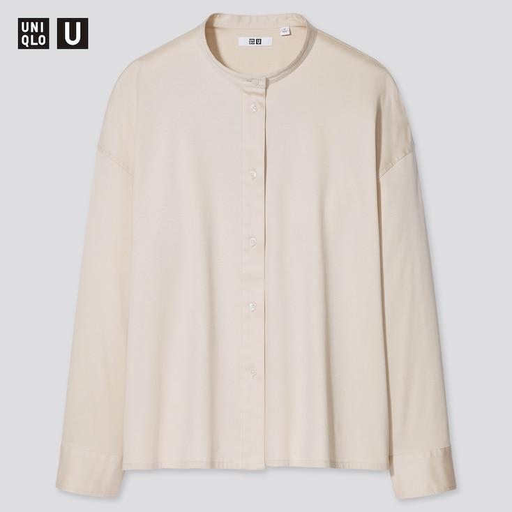 Women U Mercerized Cotton Stand Collar Long-Sleeve Shirt, Natural, Large