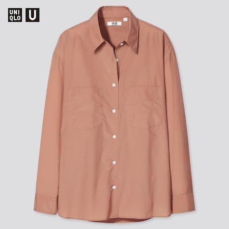 Women Uniqlo U Double Pocket Oversized Fit Shirt