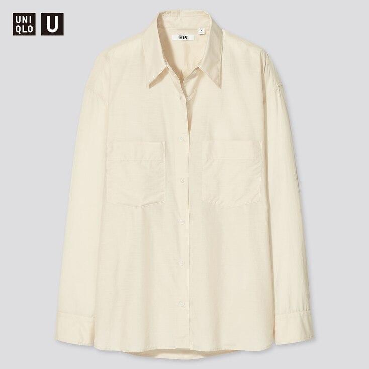 Women U Double Pocket Oversized Long-Sleeve Shirt, Natural, Large