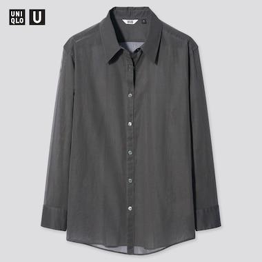 Women Uniqlo U Sheer Long Sleeved Shirt