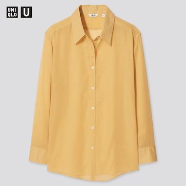 Women U Sheer Long-Sleeve Shirt, Yellow, Medium
