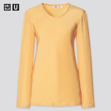 Women U Shiny Rayon Long-Sleeve Blouse, Yellow, Medium
