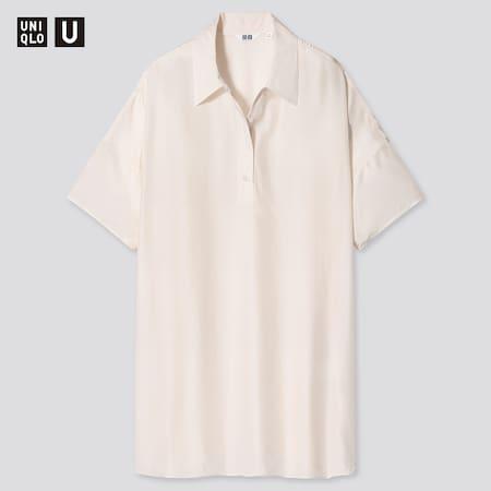 Women Uniqlo U Shiny Rayon Short Sleeved Polo Tunic