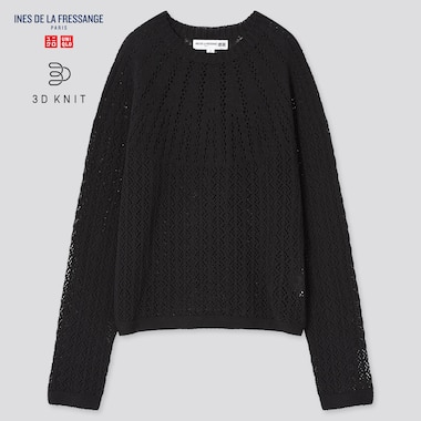 Women 3d Knit Pointelle Sweater (Ines De La Fressange), Black, Medium