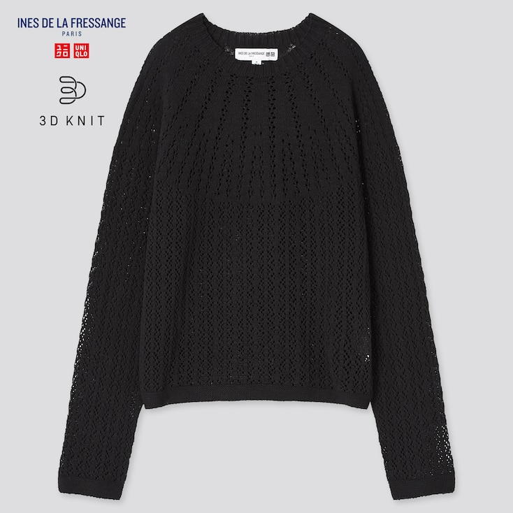 Women 3d Knit Pointelle Sweater (Ines De La Fressange), Black, Large