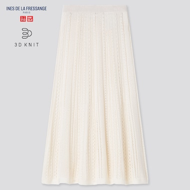 Women 3d Knit Pointelle Long Skirt (Ines De La Fressange), Off White, Medium