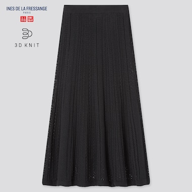 Women 3d Knit Pointelle Long Skirt (Ines De La Fressange), Black, Medium
