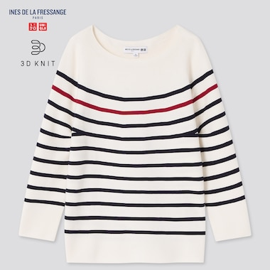 Women 3d Knit Striped 3/4-Sleeve Sweater (Ines De La Fressange), Off White, Medium