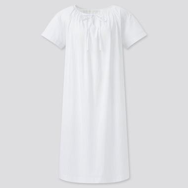 Women Light Cotton Short-Sleeve Lounge Dress, Off White, Medium
