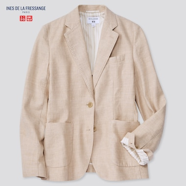 Women Linen Cotton Jacket (Ines De La Fressange), Beige, Medium