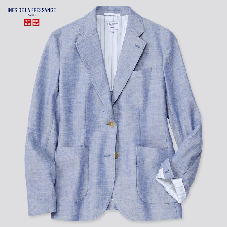 Women Linen Cotton Jacket (Ines De La Fressange), Blue, Large