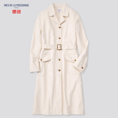 Women Cotton Long Coat (Ines De La Fressange), Off White, Medium