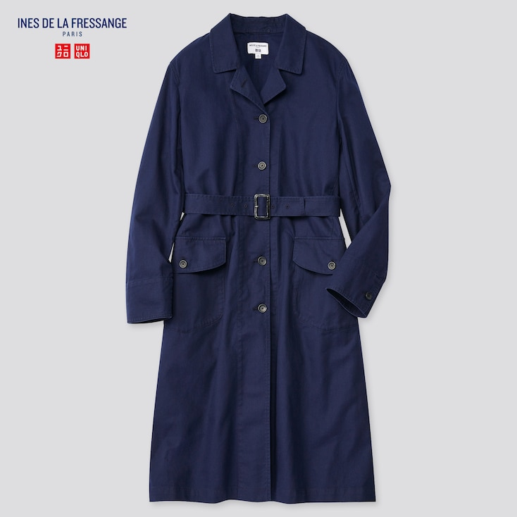 Women Cotton Long Coat (Ines De La Fressange), Blue, Large