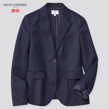 Women Wool-Blend Jacket (Ines De La Fressange), Navy, Medium