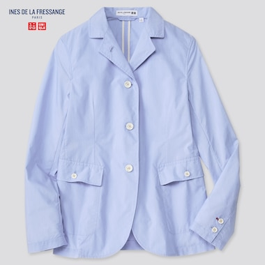 Women Cotton Nylon Shirt Jacket (Ines De La Fressange), Blue, Medium