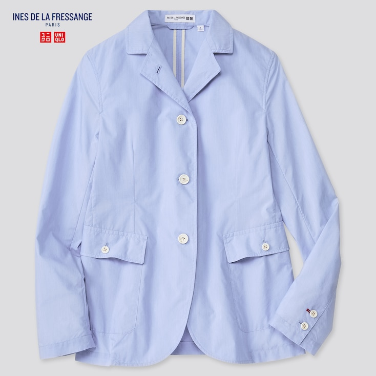 Women Cotton Nylon Shirt Jacket (Ines De La Fressange), Blue, Large