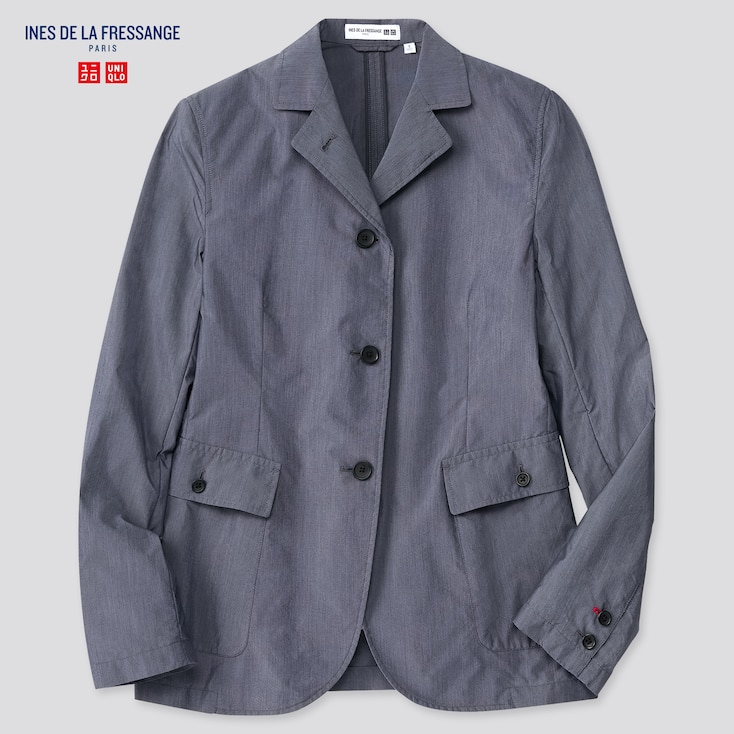 Women Cotton Nylon Shirt Jacket (Ines De La Fressange), Navy, Large