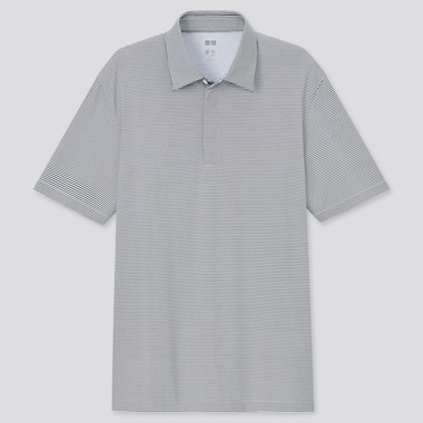Men Airism Fly Front Polo Shirt, Gray, Medium