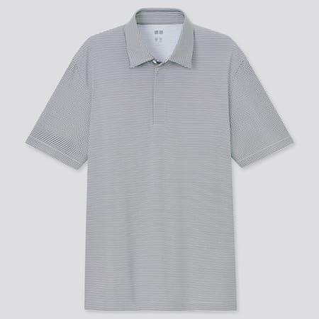 Men AIRism Fly Front Striped Polo Shirt