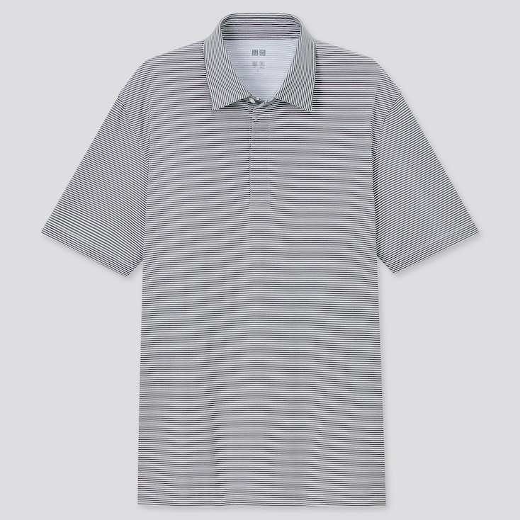 Men Airism Fly Front Polo Shirt, Gray, Large