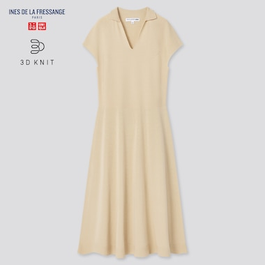 Women 3d Knit Short-Sleeve Dress (Ines De La Fressange), Beige, Medium