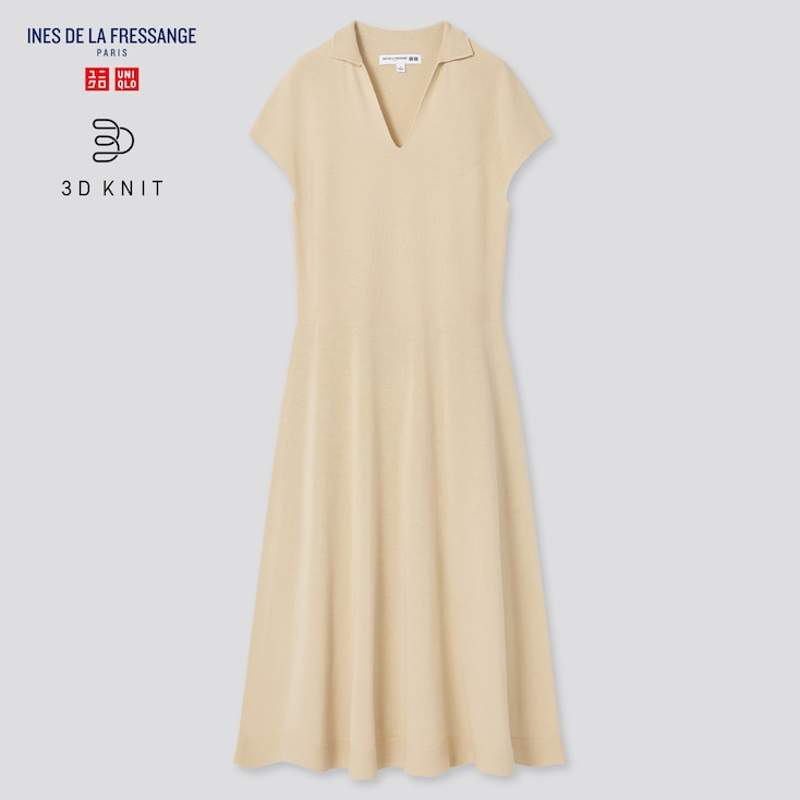 Women 3d Knit Short-Sleeve Dress (Ines De La Fressange), Beige, Large