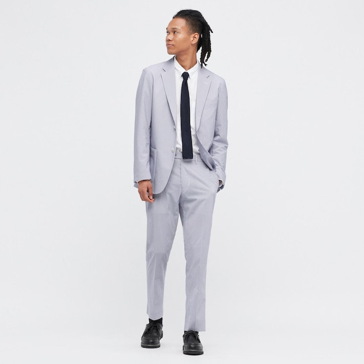 Men Ultra Light Pants (Seersucker), Blue, Large