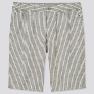 Men Linen-Blend Shorts, Gray, Medium