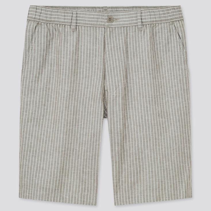 Men Linen-Blend Shorts, Gray, Large