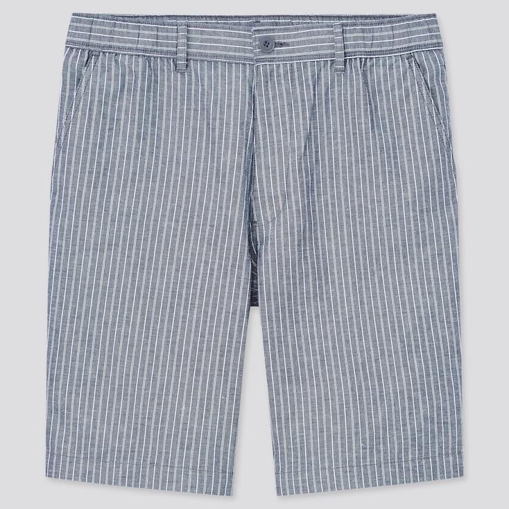 Men Linen-Blend Shorts, Blue, Large