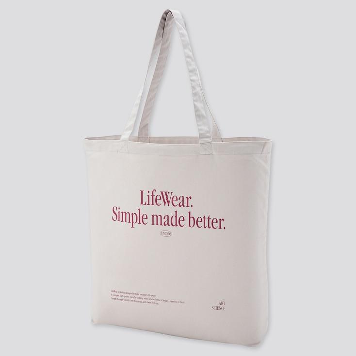 Medium Eco-Friendly Printed Tote Bag, Light Gray, Large