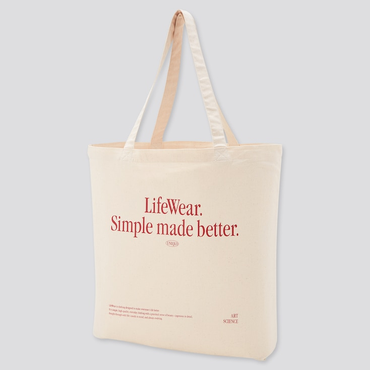 Medium Eco-Friendly Printed Tote Bag, Off White, Large